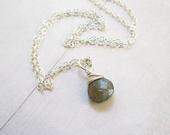 Wire Wrapped Stone - Grey Labradorite Pendant - Sterling Silver Labradorite Jewelry - Silver Charms - Faceted Labradorite Focal - Blue Flash