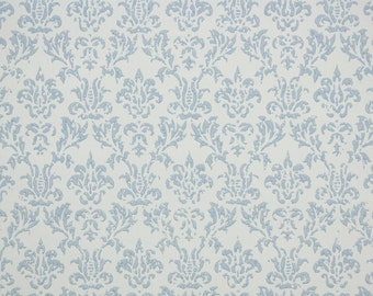 1950s Vintage Wallpaper by the Yard - Pretty Blue and White Damask