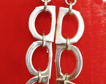 Mixed Metal Long Dangle Earrings, Hypo-allergenic, Recycled, Eco Friendly, Lightweight, Affordable