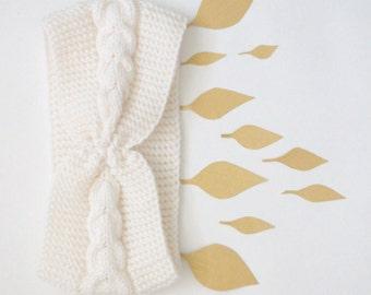 White headband knit winter hair accessory - soft wool headband ear warmers - boho head wrap - snow head warmers - knitting headband