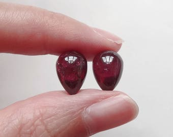 Hard to Find Rhodolite Garnet Half Top Drilled Upside Down Acorn Drops 8x12 mm One Pair F4087