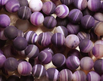 5pc - stone beads - Agate balls 10mm purple matte 4558550026323