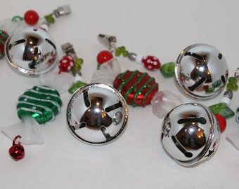 Jingle Bell and Candy Silver/Red/Green Tablecloth Weights Set of 4