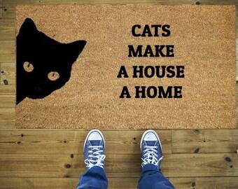 Cats make a house a home doormat, Funny doormat, Coco doormat, Coir doormat, Welcome doormat, Cats doormat, Welcome, Cats, Cat, Door mat