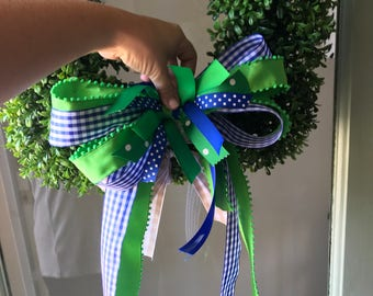Blue and Kelly Green Bow