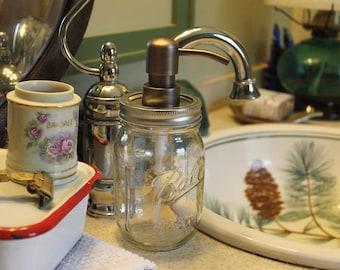 Mason Jar Soap Dispenser | Mason Jar Lotion Dispenser | Clear Mason Jar | Oil Robbed Bronze Soap Pump |  Farmhouse Decor |  Canning Jar |