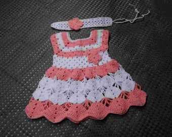 Infant Crochet Orange and White Dress With White Headband, Baby Knit Dress With Headband, Infant Knit Dress