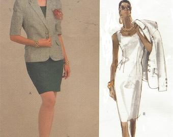80s Robert Burton Womens Hip Length Jacket & Sheath Dress Vogue Sewing Pattern 2294 Size 14 16 18 Bust 36 38 40 UnCut Vintage Sewing Pattern