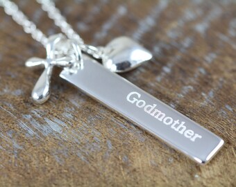 Gift for Godmother Baptism Gift Personalized Necklace Jewelry 925 Sterling Silver Jewelry