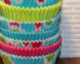 Aqua Neon Dots with Solid Heavy Duty Cupcake Liners Pak (Qty 32) Neon Dots Cupcake Liners, Lime Green Cupcake Liners, Pink Cupcake Liner,
