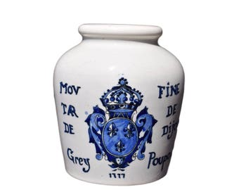 French Antique Digoin Sarreguemines Grey Poupon Mustard of Dijon Pot - Mustard Fine with White Wine Blue Pot - French Country Kitchen