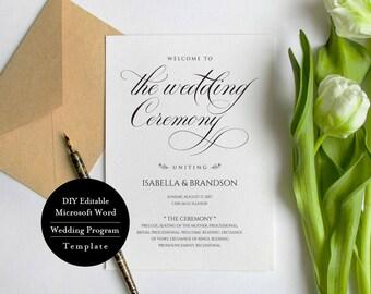 Wedding Program Printable, Editable Wedding Program Template, Ceremony Printable Template, instant download 5x7,  MSW123
