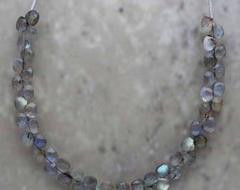 Labradorite Heart Briolette 5mm Semi-Precious Gemstones