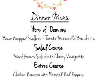 PRINTABLE Wedding Menu - Flower Frame with Initials - Customized Order, Various Sizes