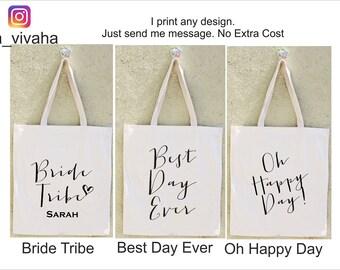 SET of Bridal Tote bags, Bridesmaid gift set, canvas tote bag, Bachelorette tote bags, Custom canvas tote, Wedding tote bags