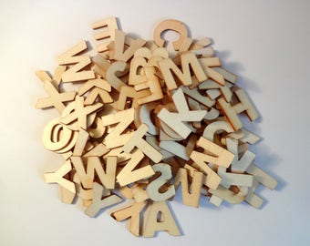 Wood Alphabet activity children-Home Decor-Scrapbooking letters
