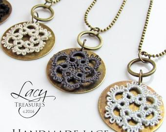 Modern Necklace, Lace Pendant, Bronze Jewelry, Layer Necklace, Vintage Jewelry, Rustic Pendant, Textile Jewelry, Round Necklace, Everyday