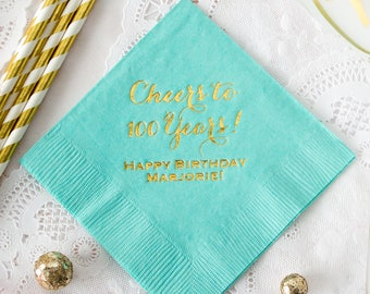 Cheers to Years Personalized Napkins, 30th, 40th, 50th, 60th, 70th, 80th, 90th 100th Birthday Party, Cocktail Napkins, Beverage Napkins