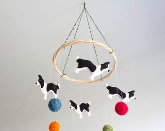 Border collie baby mobile, dog baby mobile, baby mobile dogs, nursery mobile dogs, border collie, black and white, organic, gender neutral