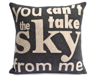 You Can't Take The Sky From Me- Appliqued Eco Felt Pillow Cover in Charcoal and Sandstone - 18 inches
