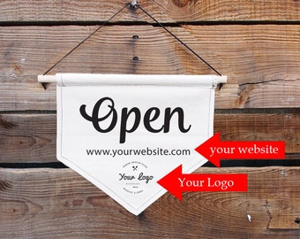 Open Sign, Open Closed Sign, Custom Open closed ,canvas sign with a logo and website.