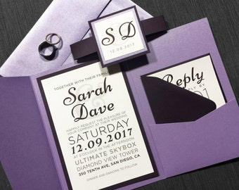 Eggplant and Lavender Wedding Invitations, Purple Modern Invitations, Fun Invitations, Purple Wedding Invites with Belly Band