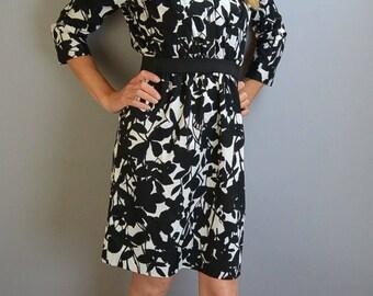 80s Secretary Dress// Vintage 80s Dress// Black and White Secretary Dress (F1)