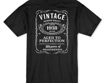 Vintage Premium Quality  80 Years Of Awesomeness Men's Black T-shirt