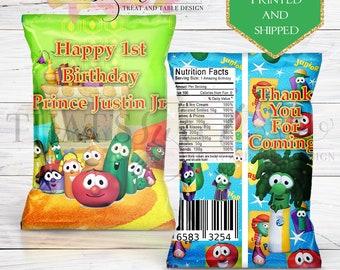 Veggie Tales Chip Bags - Custom Favor Bags - Veggie Tales Party - Veggie Tales Birthday - Printed - Printable - Chip Bags - Veggie Tales