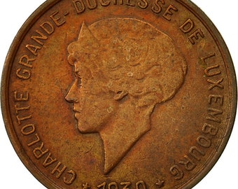 coin luxembourg charlotte 5 centimes 1930 vf(20-25) bronze km40