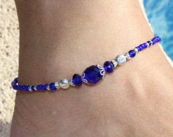 Ankle bracelet, Cobalt Blue Anklet, Crystal Ankle bracelet, Beach Anklet, Summer anklet
