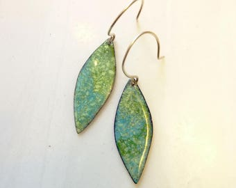 Foliage Leaf Earrings, Hand-Enameled on Copper, Nature, Organic, Glass Enamel, Sterling Silver or Antique Copper Ear Wires, OOAK