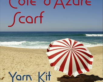 Cote d'Azure Scarf MKAL Yarn Kit with Beads, Stitch Markers and more in your choice of colors
