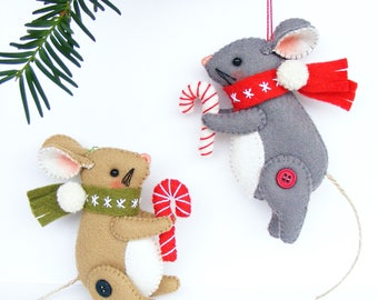 Felt PDF sewing pattern - Christmas Mouse - Christmas ornament, felt mice, hand sewing DIY project, digital  item