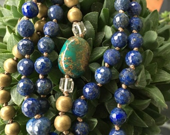 Long Layering Lapis Lazuli Frosted Hematite Hand knotted by SeeJanesBeads