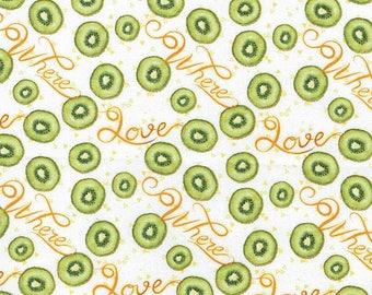 Summer Time Kiwi Fruit on White Fabric Sold Per 1/2 Metre 100% Cotton