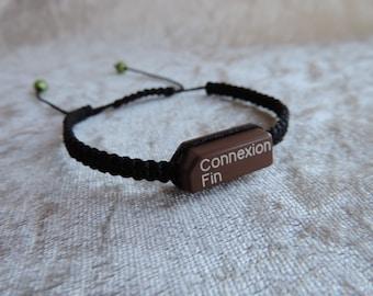 """Bracelet weave macrame """"Recyclaballa"""" touch Minitel """"Connection end"""" men/women bracelet"""