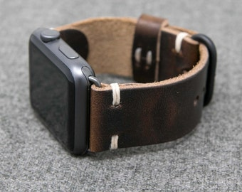 Apple Watch Band | Horween Leather Brown Nut Dublin  | The Hudson Strap for Apple Watch