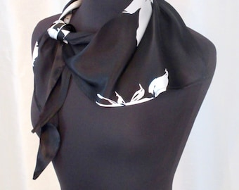 Black and White Silk Petit Carré Triangle Scarf