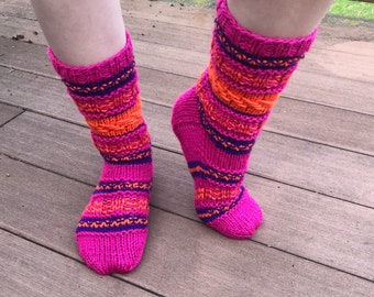 Hand knit thick slipper socks