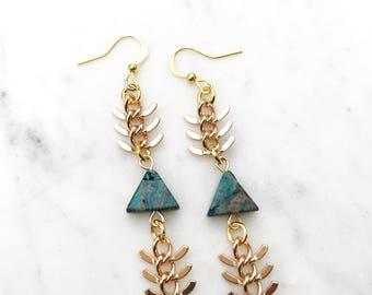 Blue Triangle Gemstone and Fishbone Chain Gold Plated Dangle Earrings----> The Haute Bohemian Jewelry