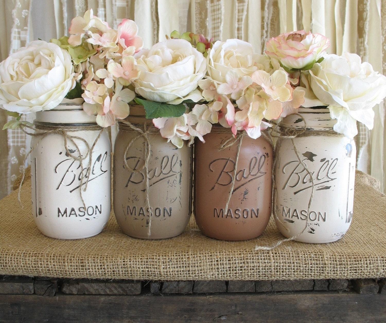 Sale set of 4 pint mason jars ball jars painted mason zoom junglespirit Gallery
