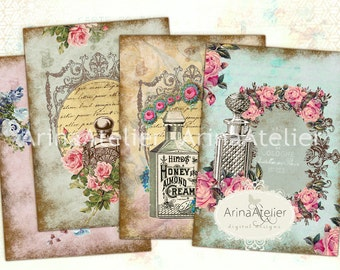 Vintage Flowers Parfume Tags - ATC Cards - Set of 8 - Collage Sheet Download