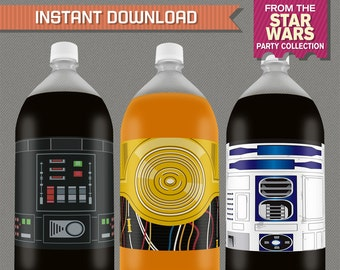 Star Wars Party Printable Birthday 2 Liter Bottle Labels - Editable PDF file - Print at home - Star Wars Birthday - Star Wars Bottle Labels