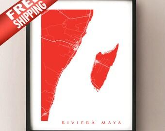 Riviera Maya Map Art Print -  Tulum, Playa del Carmen, Cozumel, Mayan Riviera, Mexico Poster
