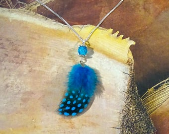 Blue feather, silver necklace, blue feather necklace
