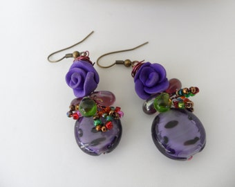 Artistic Purple Rose Earrings Plum Colored Jewelry Fimo Flower Drop Earrings Wire Wrapped Polymer Clay Earrings Purple Lover Gift Vintage