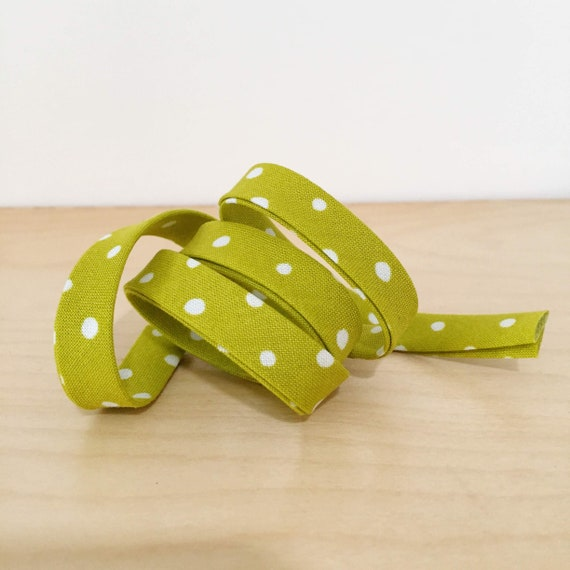 """Bias Tape in Sarah Golden's Around Town Small Dot Polka Dots in Mustard Yellow 1/2"""" double-fold cotton binding- 3 yard roll"""