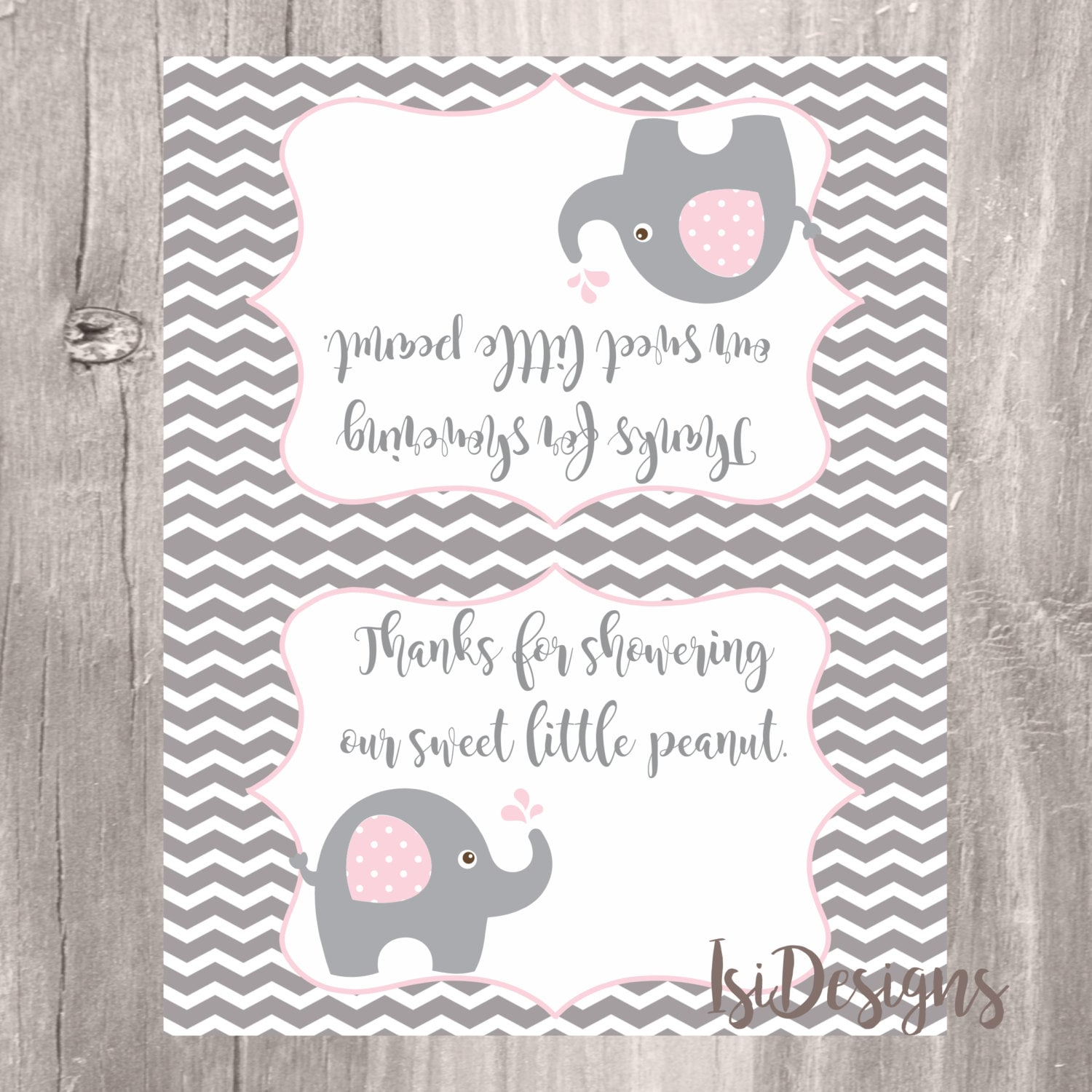 Elephant Treat Bag Toppers Grey And Pink Elephant Baby
