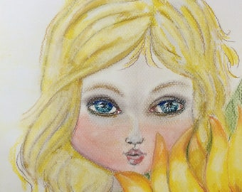 Whimsical girl with sunflower